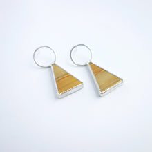 Knuckle Kiss Apex Earrings in Sterling Silver and Owyhee Jasper, featuring natural patterns and a vivid mustard color