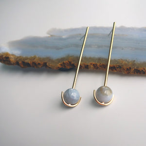 Drop Anchor Earrings with Blue Lace Agate beads by Knucklekiss