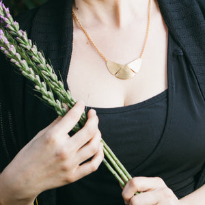 Brass botanical Garden Shield Necklace by Knuckle Kiss