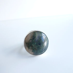 Moss agate statement ring by Knuckle Kiss