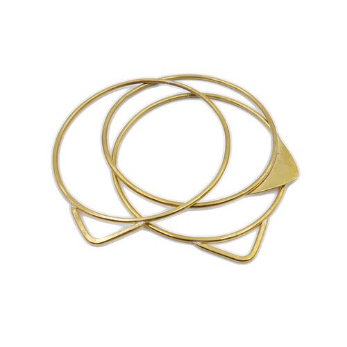 Brass triangle geometric bangle set by Knuckle Kiss