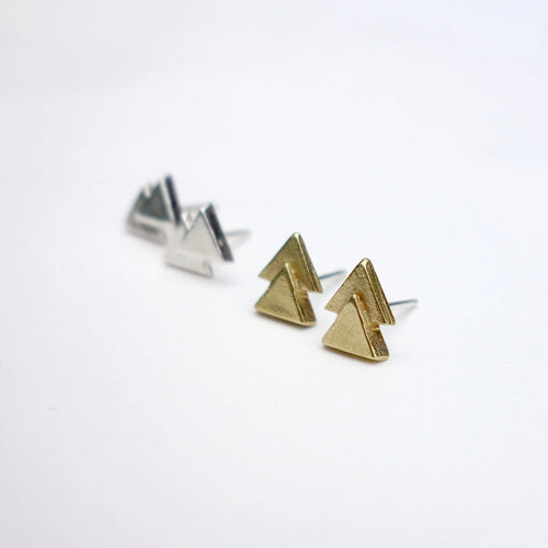 Dainty geometric triangle earrings from Knuckle Kiss