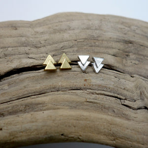 Tiny double triangle earrings by Knucklekiss