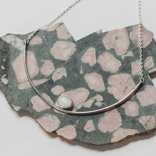Gemma moonstone collar necklace by Knucklekiss
