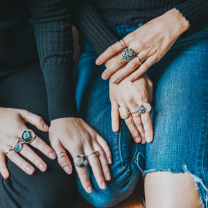 Oversize genuine stone cocktail rings by Knucklekiss