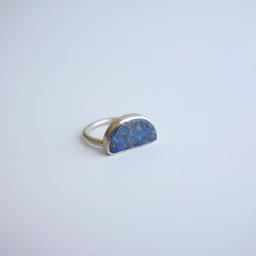 Chunky lapis half-moon ring by Knuckle Kiss