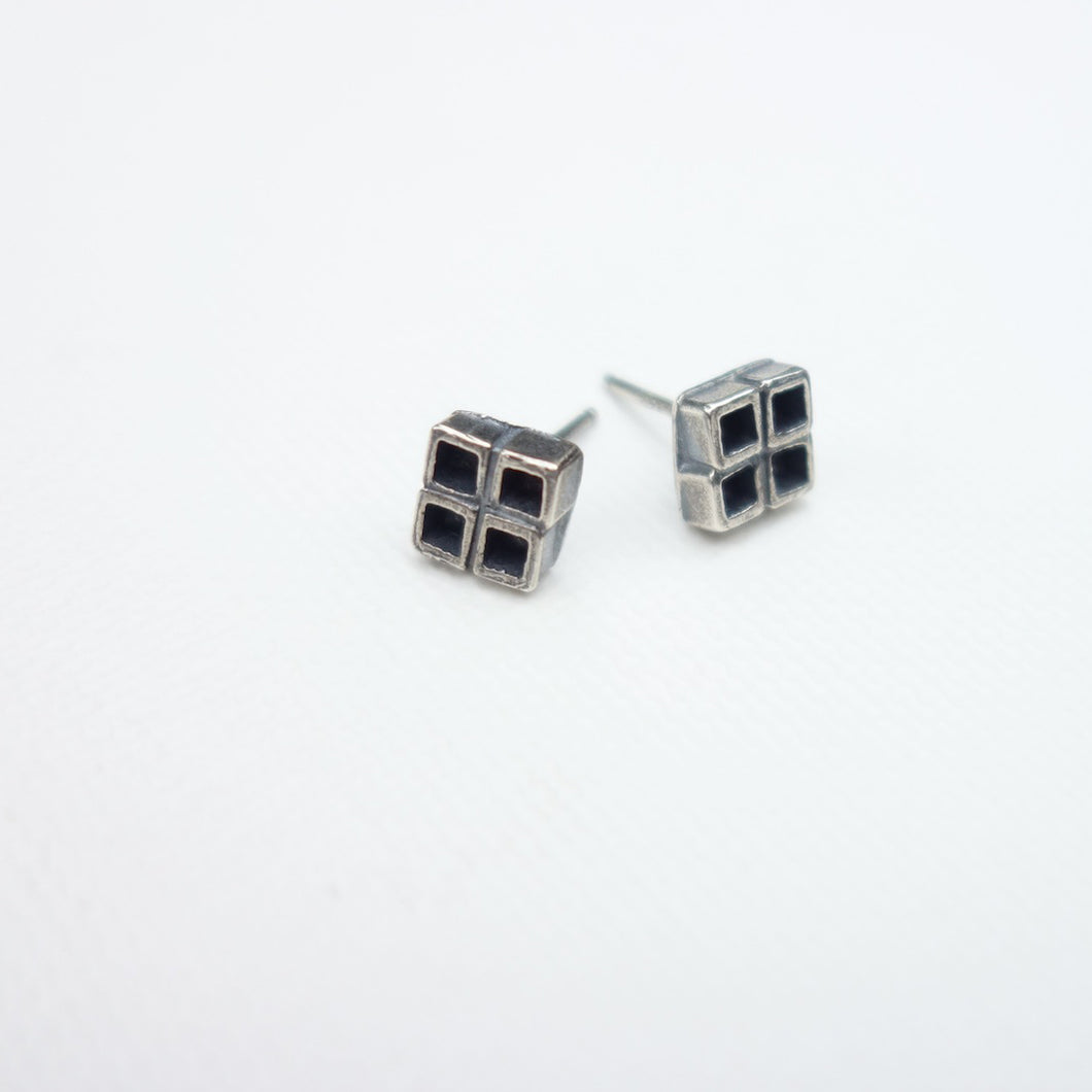 Geometric sterling silver four square earrings by knucklekiss