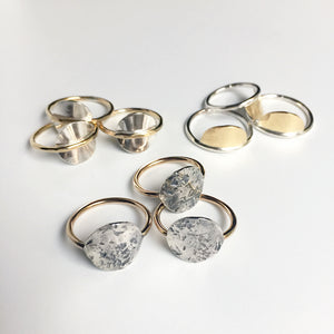 Knuckle Kiss two tone mixed metal celestial-inspired rings