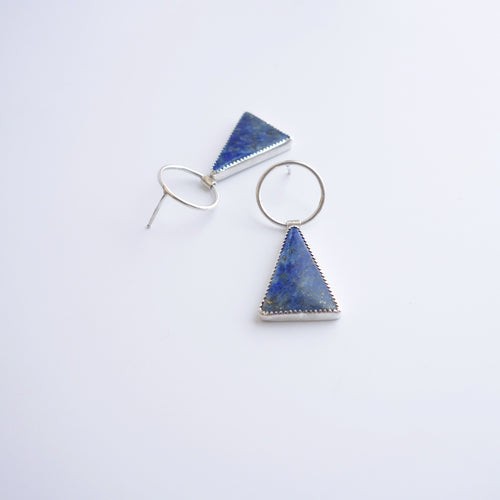 Lapis triangle drop earring in silver by Knucklekiss