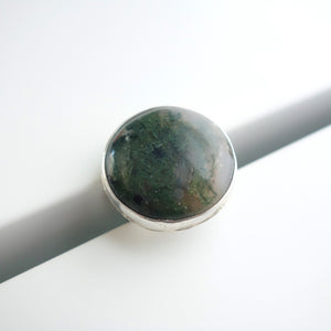 Chunky moss agate ring by Knuckle Kiss