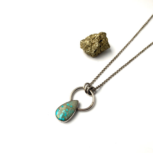 Speckled Turquoise Teardrop Necklace