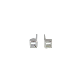 Tiny sterling silver open square earrings by Knuckle Kiss