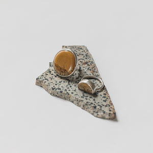 Hand-cut owyhee jasper yellow ochre chunky rings by Knuckle Kiss