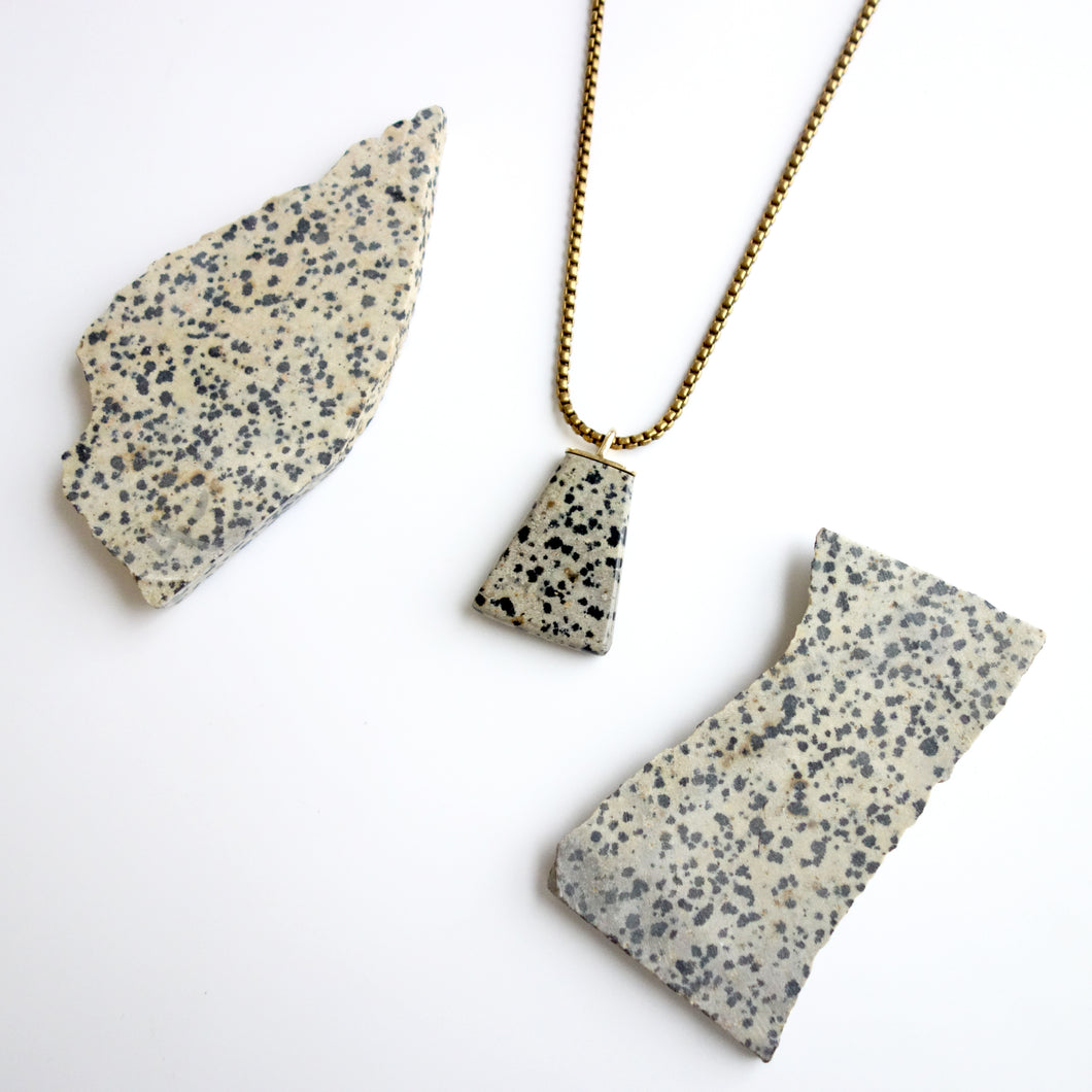 Hand-cut Dalmatian Stone Polygon Necklace by Knuckle Kiss