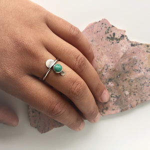 Dainty sterling silver turquoise Triplet Ring by Knuckle Kiss