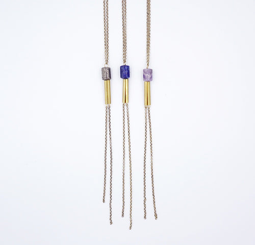 Long lariat style Tubular Necklace by Knuckle Kiss