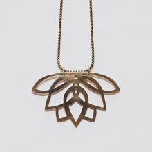 Brass art decco lotus necklace by Knuckle Kiss