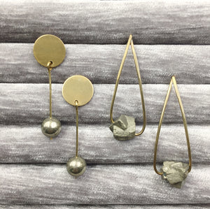 Pyrite and brass earrings by Knuckle Kiss