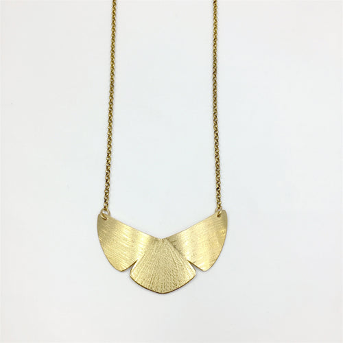 Knucklekiss brass botanical-inspired Garden Shield Necklace