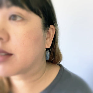 Person wearing Knuckle Kiss Kyanite Stick Earrings with 14K goldfill hoop