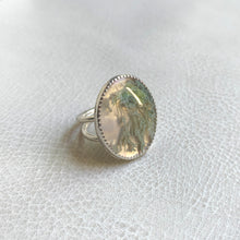 Light Moss Agate Stone Cocktail Ring