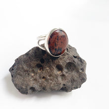 Mahogany Obsidian Stone Cocktail Ring, Size 8.5-9