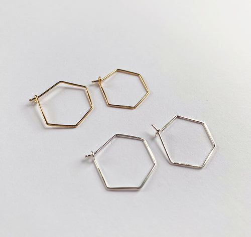 Mini Hex Hoop Earrings (WHSL)