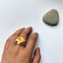 Chunky hand-lapped Montana Agate cocktail ring in sterling silver by Knuckle Kis