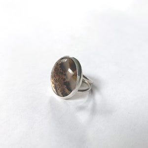 Montana Agate Stone Cocktail Ring, Size 8