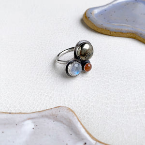 Multi-stone Cluster Ring with Pyrite, Rainbow Moonstone, Peach Moonstone, Size 7