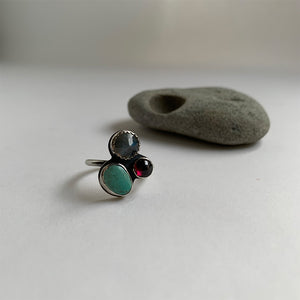 Multi-stone Cluster Ring with Turquoise, Labradorite & Garnet, Size 7.5