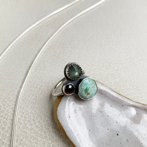 Multi-stone Cluster Ring with Turquoise, Labradorite, Garnet, Size 7.5