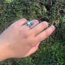 Multi-stone Cluster Ring with Turquoise, Labradorite, Peach Moonstone, Size 6