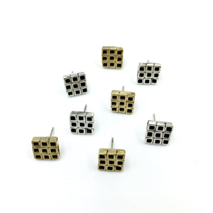 Chunky square stud earrings in brass and sterling silver by Knucklekiss
