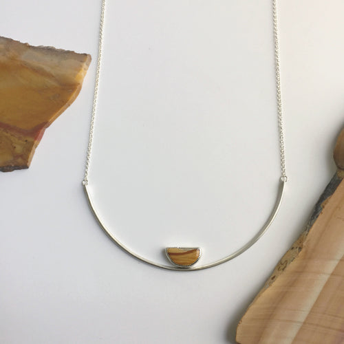 Owyhee Jasper Half Moon Gemma Collar Necklace