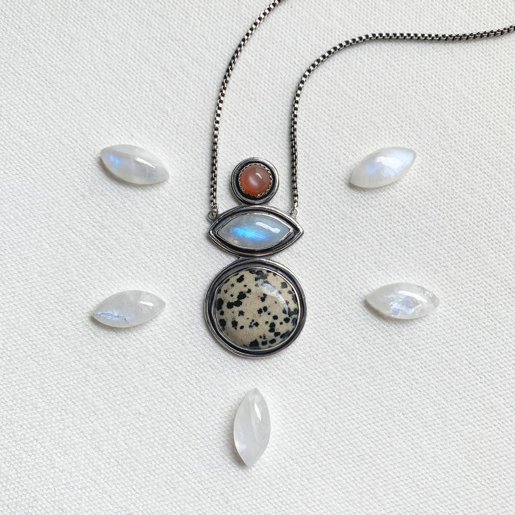 FRIEND NECKLACE WITH DALMATIAN STONE, PEACH MOONSTONE, AND RAINBOW MOONSTONE
