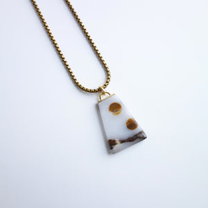 Polka-Dot Agate Polygon Necklace