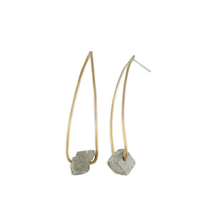 Raw pyrite and brass earrings by Knucklekiss