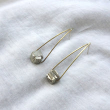 Raw pyrite and brass earrings by Knuckle Kiss