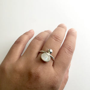 Rainbow Moonstone Couplet Ring