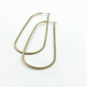 Brass oblong Rain hoop earrings by Knucklekiss
