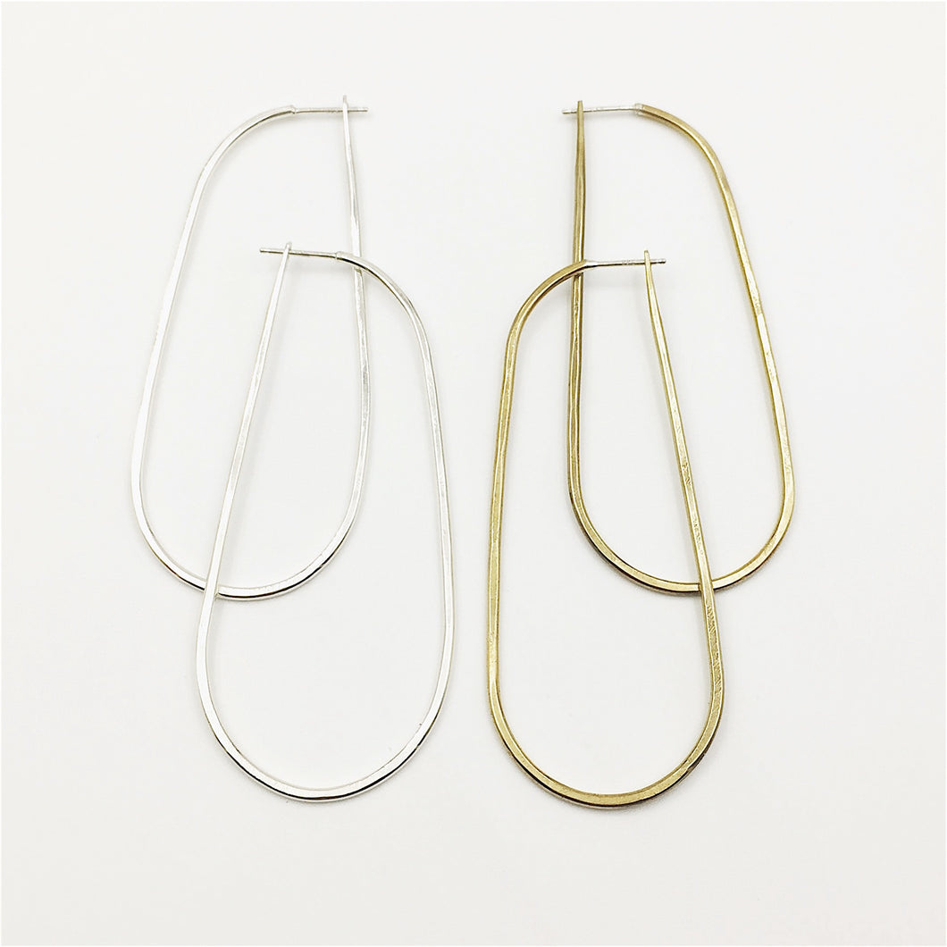 Long oblong Rain hoop earrings by Knucklekiss