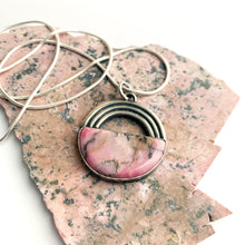 Sterling silver rainbow with rhodonite half moon by Knucklekiss