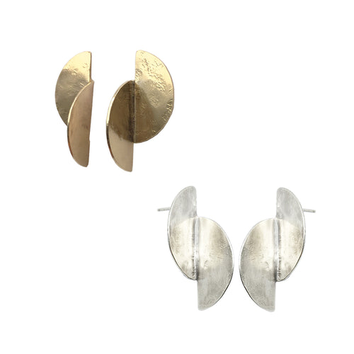 3D brass and silver Split Cell earrings by Knuckle Kiss