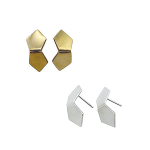 Modern brass and sterling silver Tessa Earrings by Knuckle Kiss