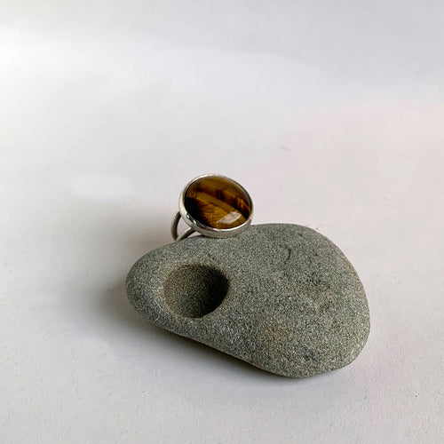 Tiger Eye Stone Cocktail Ring, Size 7.5
