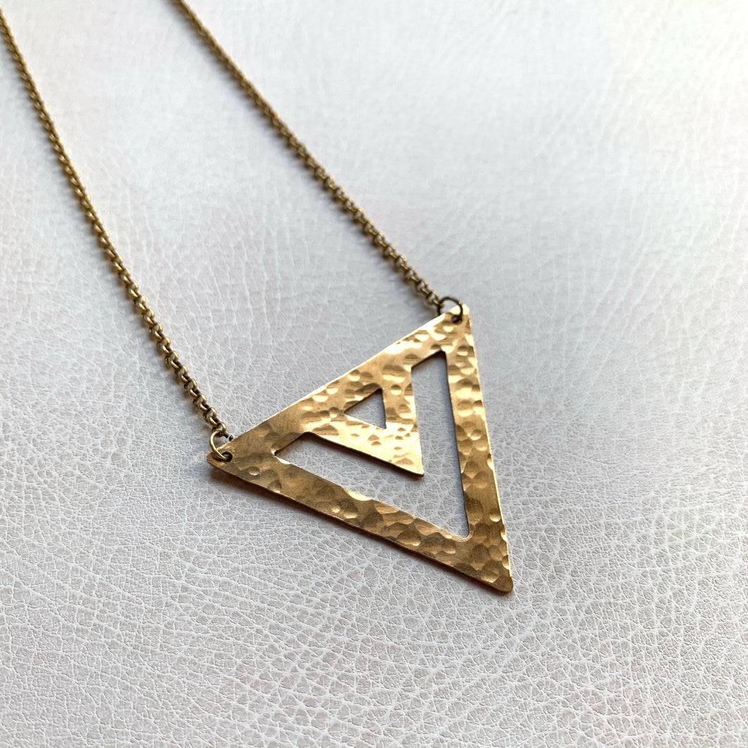SALE Geometric Hammered Triangle Necklace