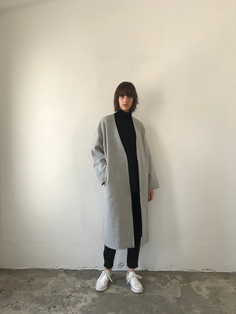 COLLARLESS COAT / GEELONG COMPRESSED WOOL (3985445945423)