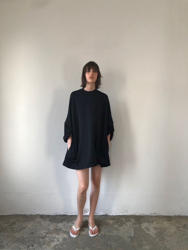 A-LINE ROLL-UP DRESS / COTTON NYLON TERRY