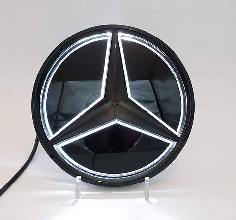 Mercedes benz Eemblem Led Badge White Light Car Star Logo Front Grill (Shiny Black GLC GLS GLE)